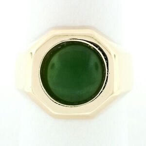 Men's Vintage 14k Gold Octagon Ring w/ Bezel Set 11mm Round Cabochon Green Jade