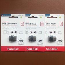 SanDisk 16/32/64GB/128GB ULTRA DUAL DRIVE M3 OTG micro USB 3 Memory Stick Flash