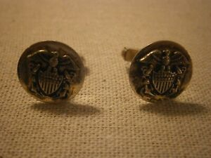 Vintage Swank US Military Navy Cufflink Sterling Silver 925 Eagle Shield Anchor