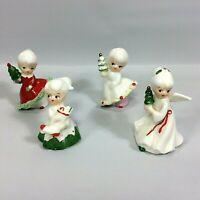 Vintage Napco Japan Christmas Girls Angel Giftcraft Stickers Set of 4  Figurines