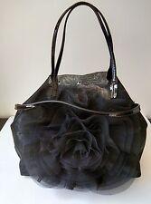 Auth Valentino Mesh See Through Black Petale Handbag with Pouchette & Long Strap