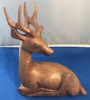 Hand-carved wood 19th Century sitting Deer Figure
