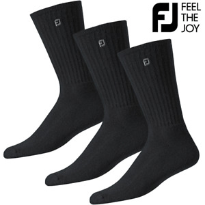 FOOTJOY COMFORTSOF MENS BLACK GOLF CREW GOLF SOCKS / 3 PAIR VALUE PACK