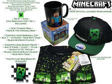 ⛏ Official Minecraft Heat Change Mug Creeper Tee Baseball Cap Gift Set Bundle BN