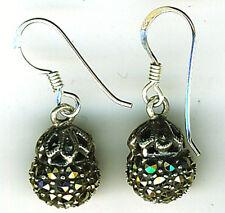 """925 Sterling Silver Marcasite 10mm Ball Drop Dangle Hook Earrings Length 1"""" 25mm"""