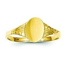 14K Yellow Gold Polished & Engraveable Oval Shape Baby Signet Ring Size 5