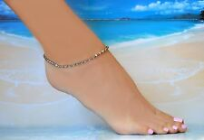 Sexy Bronze Crystal Bead & Crystal Ankle Bracelet plus .925 Sterling 7 to 9 Inch