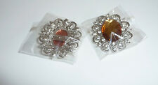 Pretty Silver plated brooch with Amber Gem and Clear rhinestones - Costume