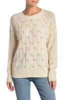 Elodie Womens Sz M Pointelle Knit Pullover Sweater Long Sleeve Crew Neck Ivory