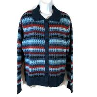 Carolyn Taylor Womens Long Sleeve Sweater Cardigan Blue Multicolor Size Large