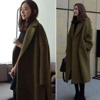 New Women Long Woolen Coats Jacket Plus Size Overcoat Windbreaker Trench Outwear