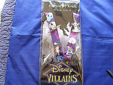 Disney * VILLAINS * 4 pin Starter Set w Lanyard & Card - Maleficent Hades Ursula