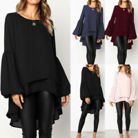 Fashion Women's Long Sleeve Double Layer Shirt Tops Asymmetrical High Low Blouse