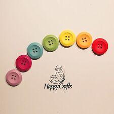 Round Wooden Rainbow Button Magnets Set of 7