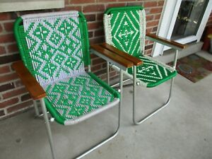 2 Vintage Aluminum Frame Macrame Folding Lawn Patio Chairs Wood Arms Green White