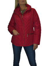 NEW Plus Size Diamond Quilted Jacket, Hood, Lightweight Padded Red 12-22
