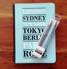 A5 384 page Vinyl Fabric covered Journal w. matching Pen Set Urban Metro Design