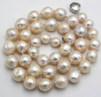 """Baroque Luster Aaa 11-12 Mm Natural South Sea White Pearl Necklace 18"""""""