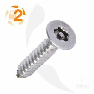 Countersunk A4-70 Marine Grade 5-Lobe Pin Security Self Tapping Screws