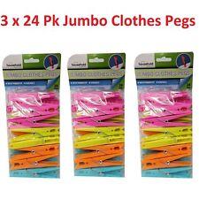72 Pcs Jumbo Plastic Clothes Spring Pegs Laundry Washing Household Length 9cm