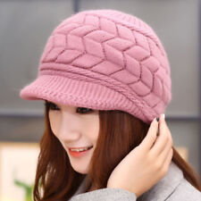 Womens Winter Warm Fleece Lined Knitted Hat Slouchy Peaked Beanie Caps Berets
