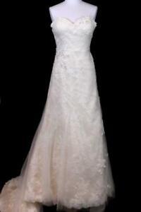 NEW $1425 womens ivory JUSTIN ALEXANDER beaded alencon venice wedding dress L 14