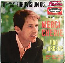 """UDO JÜRGENS - RARE SP FRANCE """"MERCI CHÉRIE"""" VG-/EX - GRAND PRIX EUROVISION 66"""