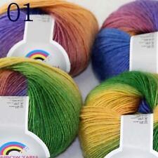 AIP Soft Cashmere Wool Colorful Rainbow Shawl DIY Hand Knitting Yarn 50grx4 01