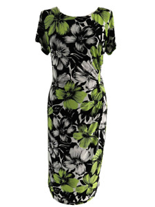 PRECIS Women's Dress Black Green Floral Stretch Ruched Wiggle Size 12 Petite