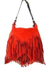 Italian Suede Leather Fringed Handbag Purse