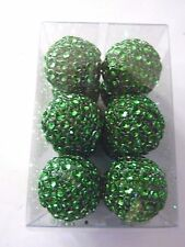 12 Green Covered 1 Inch Ball Christmas Holiday Shatter Resistant Ornament