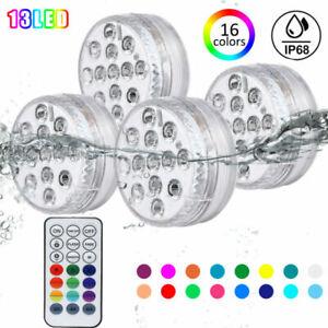 13 LED Poolbeleuchtung RGB Unterwasser Poollicht Poollampe Magnet+Fernbedienung