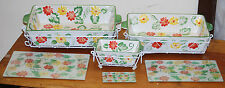 """""""Floral Embroidery Design"""" 9pc Green Oven-to-table set by Temptations Ovenware"""