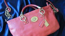 COACH Emma slim turnlock leather tote bag purse #15117..coral..rare..dust cover