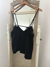 Urban Outfitters Strappy Black Swing Vest Top Tie Back M Medium 10-12 Bnwot