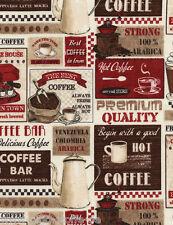 REST Coffee Patchwork Stoff Patchworkstoff Kaffee Tassen Baumwollstoff Baumwolle