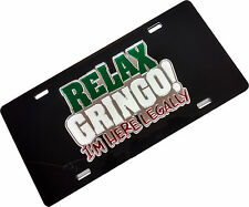 Mexico Laser Cut  license Plate Relax Gringo Black Back
