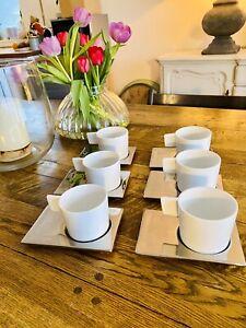 kaffetassen set 6 Stück mit Untertasse Weiß Silber