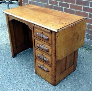 Edwardian antique Arts & Crafts solid oak compact extending office writing desk