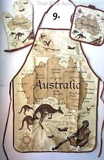 1x Australian Souvenir Apron, Oven Mitt & Potholder Set - Khaki Australian Map
