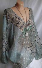 Designer Damen Chiffon Tunika,Bluse,Shirt,Pailetten,Farbe Bunt, Gr. 42-44