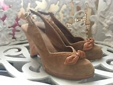Vintage Suade Sling Wedge Sandale Shoes Woman 7.5/ 70's 80's Cute