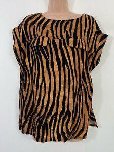 NWT NEXT tan brown black zebra print boxy blouse top size 12 READ DESCRIPTION