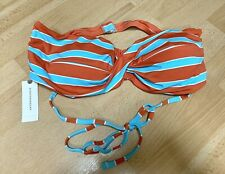 Anthropologie Allihop Women's Bikini Top Orange Blue Size L NWT