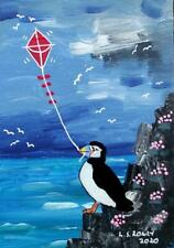 More details for puffin flying a kite  original scottish impressionist oil painting  l s rowly
