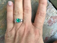 18 KT White Gold Diamond & Emerald Cut Emerald Halo Band Ring Vintage Estate