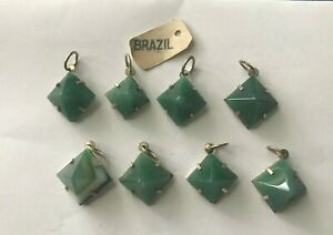 Green Agate Pyramids Charms wrapped in Sterling Silver Lot of 8 NEW