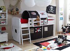 Lit mezzanine ERIC Pin massif teinté blanc tissus Pirate Noir-Blanc