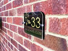 MODERN HOUSE SIGN / DOOR NUMBER ADDRESS - GOLD & BLACK KENSINGTON PLAQUE