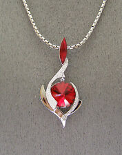 """SWAROVSKI """"NEW"""" """"RUBY RED """"  CRYSTAL ELEMENTS PENDANT and """"SNAKE"""" CHAIN"""